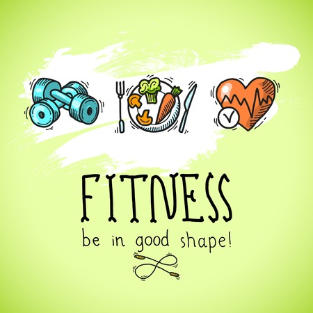 Fitness diet training sport exercise be in good shape colored sketch poster illustration Vector