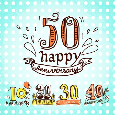 30 years: Anniversary celebration ceremony congratulations sketch 10 20 30 40 50 signs colored collection set illustration