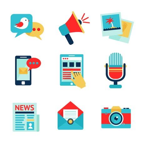 social communication: Media social communication network icon set isolated illustration Illustration