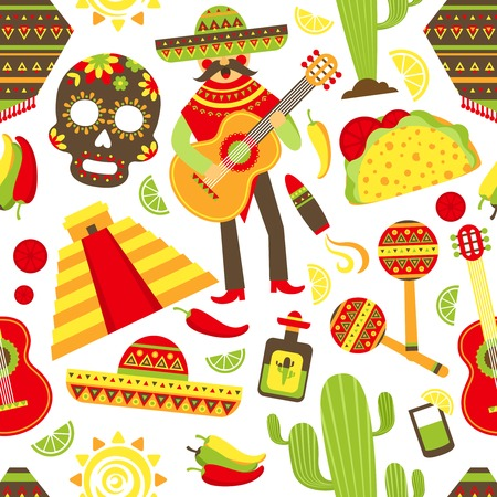 Mexico seamless pattern with travel traditional music latino america symbols illustration Vectores