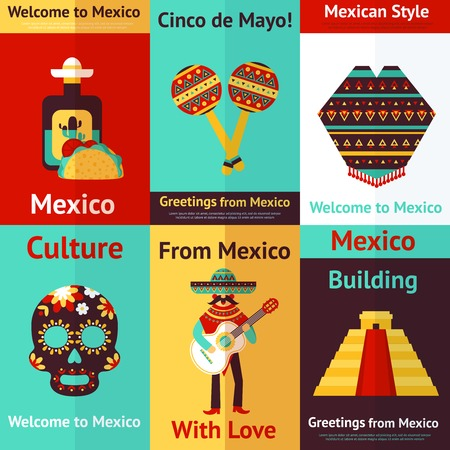pinata: Mexico style culture building travel mini retro posters set isolated illustration