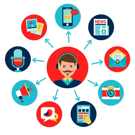 social communication: Media news social communication flat icons set composition with newscaster avatar illustration