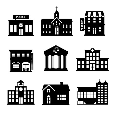 Government building black and white icons set of police shop church isolated illustration Illustration
