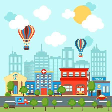 City street scape background with retro and modern buildings illustration.
