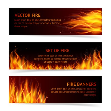blazing: Burning fire campfire hot flame strokes realistic horizontal banner set isolated vector illustration