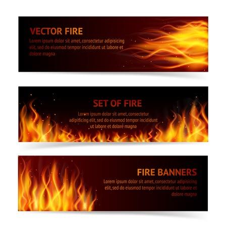 resplandor: La quema de fogata fuego llama caliente acaricia conjunto de banner horizontal realista ilustraci�n vectorial aislado
