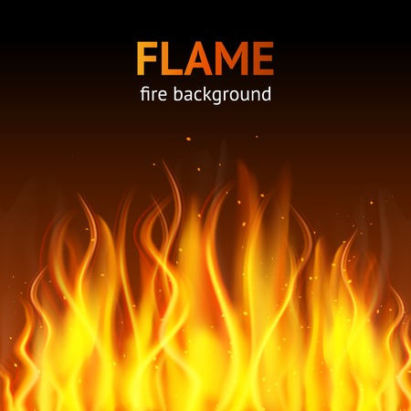 Burning hot flame campfire strokes realistic fire on dark background illustration