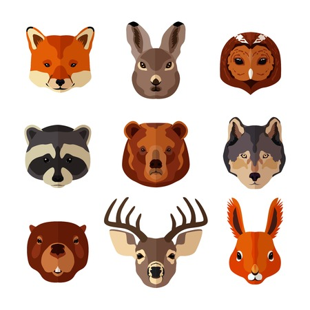 Forest animal portrait flat icons set with fox hare owl isolated illustration Illustration