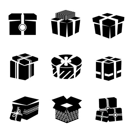 white boxes: Black and white boxes and package gift container icons set isolated illustration Illustration