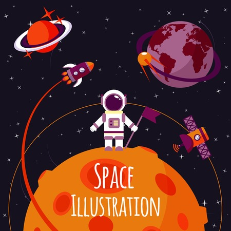Space concept with astronaut on moon and rocket satellites on orbit flat illustration