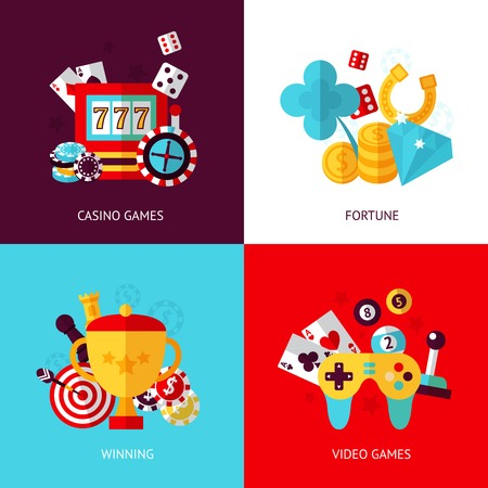 gambling chips: Game design flat concept set with casino fortune winning video isolated illustration Illustration