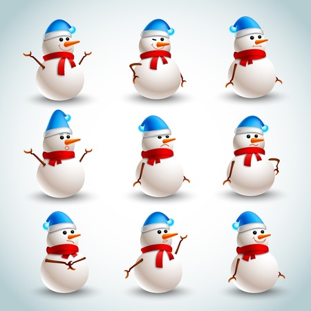 snowman isolated: Winter christmas snowman emotions icons set isolated illustration