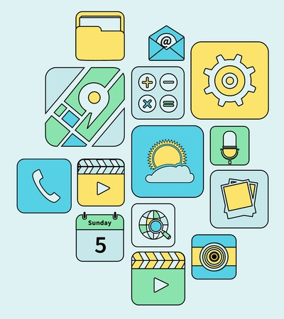 Mobile phone applications flat line icons set isolated illustration Vector