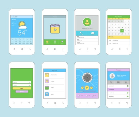 White smartphones set with mobile ui flat line design template isolated illustration