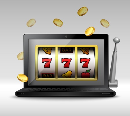 slot: Online gambling concept with laptop and slot machine handle and coins illustration Illustration