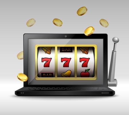 Online gokken concept met laptop en gokautomaat handvat en munten illustratie