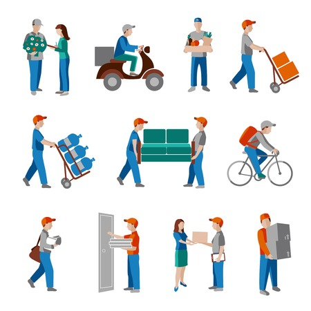 postman: Delivery person freight logistic business industry icons flat set isolated illustration.