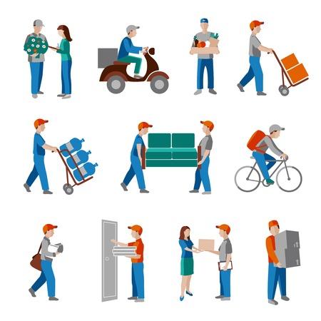 Dostawa osoba towarowe ikony przemysłu biznes logistyczny płaskim zestaw izolowanych ilustracji. Ilustracje wektorowe