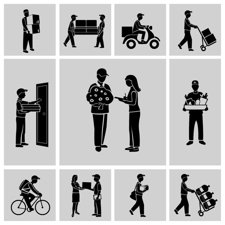 delivery man: Delivery person courier service postman job icons black set isolated illustration