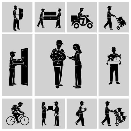 cartero: Iconos de trabajo Entrega persona mensajería cartero servicio aislado conjunto negro ilustración