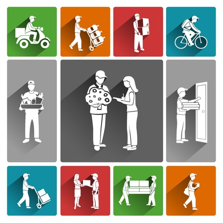 shipping container: Delivery person courier mail parcel service icons white set isolated illustration