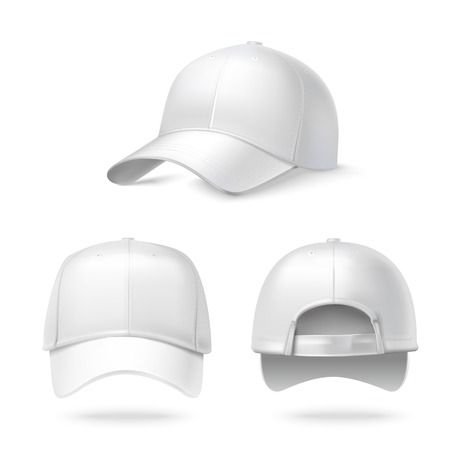 uniform: Realistic back front and side view white baseball cap isolated on white background illustration