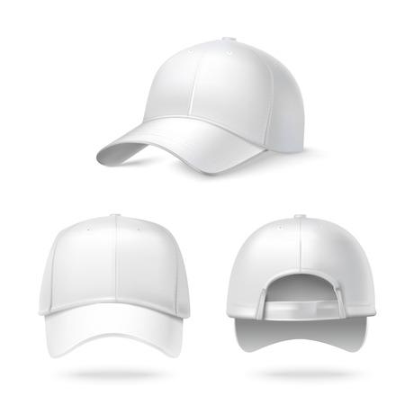 zadek: Realistické zadní přední a boční pohled bílá kšiltovka na bílém pozadí, ilustrace