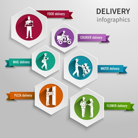Delivery infographic set with hexagon food courier water flower pizza mail elements illustration. Illustration