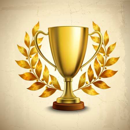 Golden metallic trophy cup first place winner award with laurel wreath illustration