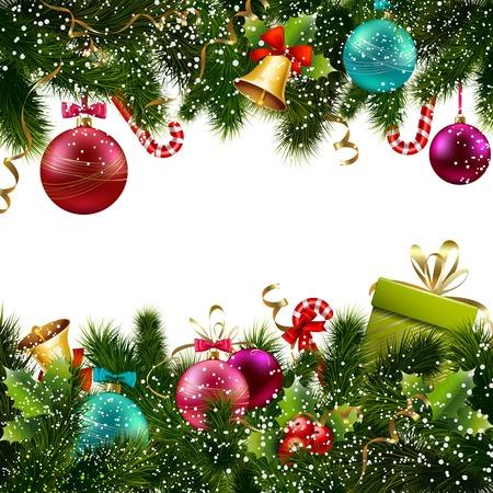 muerdago navideÃ?  Ã? Ã?±o: Feliz Navidad y feliz nueva decoración postal de felicitación de año ilustración de la frontera sin problemas