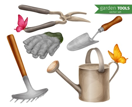 farming tools: Garden tools farming agriculture equipment decorative icons set isolated illustration.