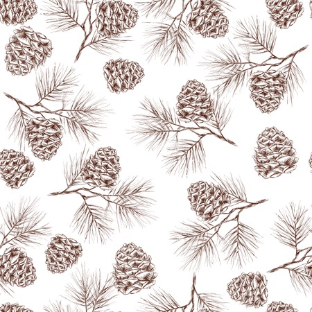 Pine fir christmas tree cedar spruce and cones seamless pattern illustration