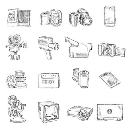 professional equipment: Photo video camera and multimedia professional equipment doodle icons set isolated illustration Illustration