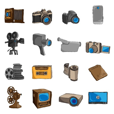 Photo video camera and multimedia entertainment technology doodle colored icons set isolated illustration Vector