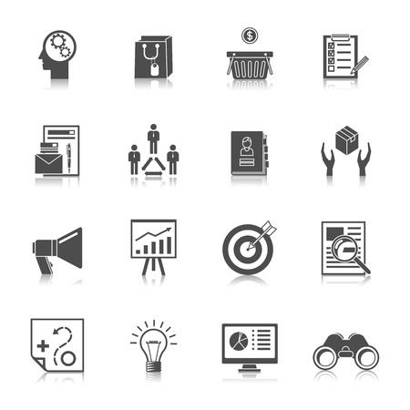 marketer: Marketer financial money shopping business search buying black icons set isolated illustration