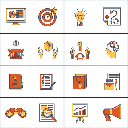 marketer: Marketer finance money shopping marketing business search buying flat line icons set isolated illustration
