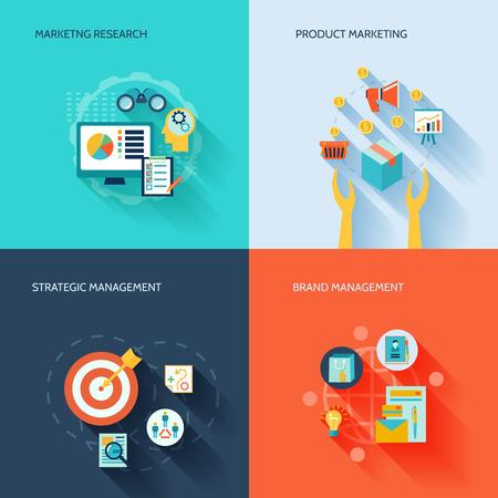 Marketer icônes plates fixées avec l'illustration produit de recherche en marketing management stratégique de la marque isolé Illustration