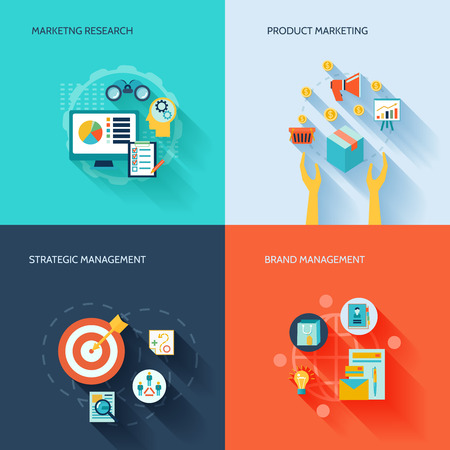 Marketer flat icons set with marketing research product strategic brand management isolated illustration