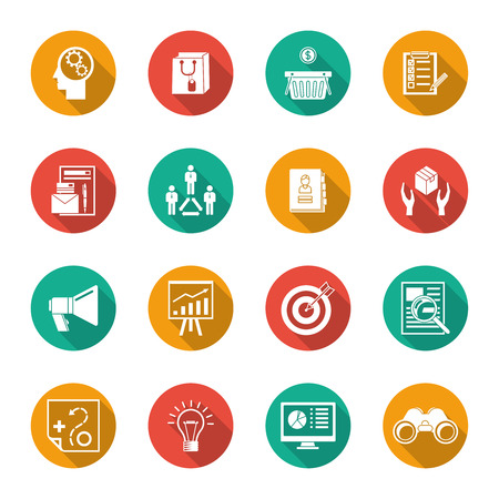 marketer: Marketer flat icons set with advertising effectiveness marketing analytic isolated illustration
