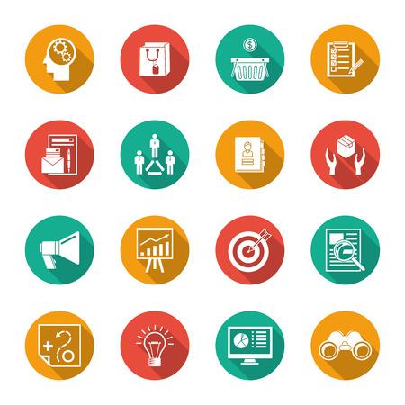 Marketer flat icons set with advertising effectiveness marketing analytic isolated illustration