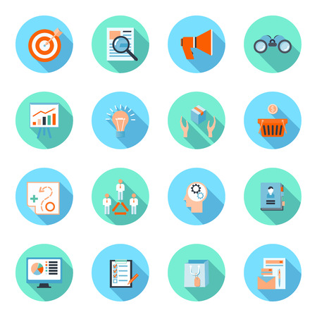 Marketer flat icons set with advertising effectiveness brand analytic product marketing isolated illustration