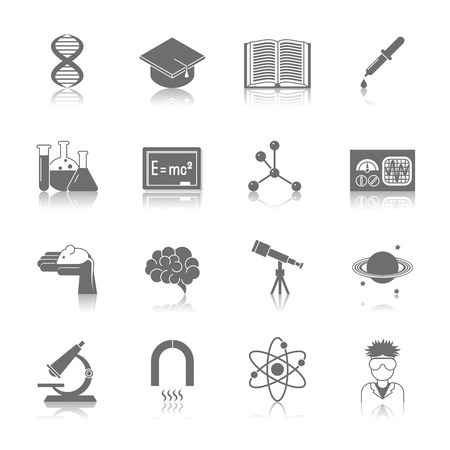book isolated: Science and research icon black set with dna graduation hat book isolated illustration Illustration