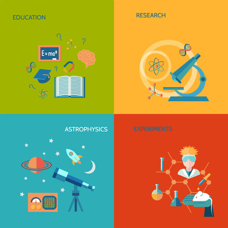 astrophysics: Science and research flat icons set with education research astrophysics experiments isolated illustration Illustration