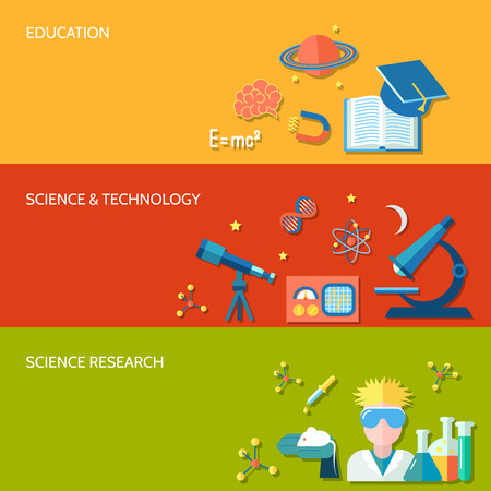astrophysics: Science and research horizontal banner set with education technology isolated illustration