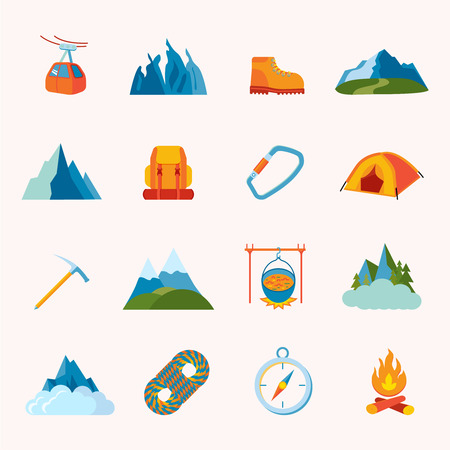 Mountain hiking climbing skiing equipment icons flat set isolated illustration Vector