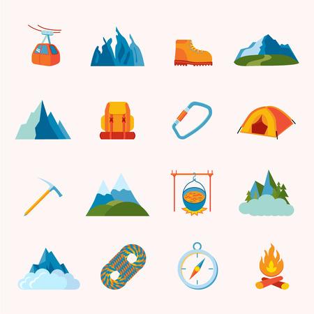ice climbing: Mountain hiking climbing skiing equipment icons flat set isolated illustration Illustration