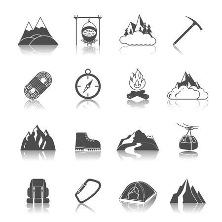 Mountain icons black set with peak campfire axe rope isolated illustration Vector