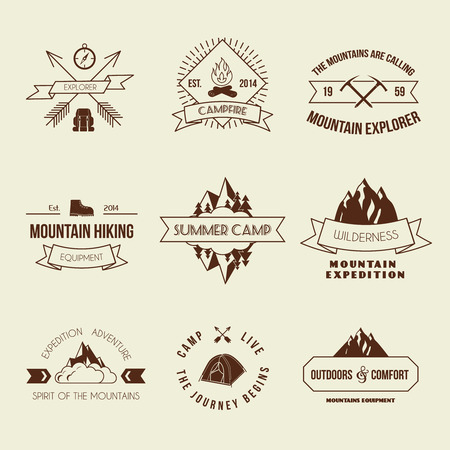 Camping mountain adventure hiking explorer equipment labels set isolated illustration Vector