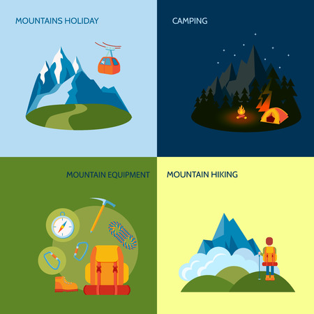 park icon: Mountains camping icons flat set with holiday equipment hiking isolated illustration