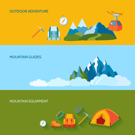 guides: Mountains camping banners set with outdoor adventure guides equipment isolated illustration